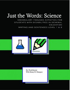 "Black background, white letters with the title ""Just the words"", 2 small images on top green bar with white background, first is a flask with a blue substance inside, the second is a pencil which is green and draws a grey line. second line has a box with the author's name (ParaEducate)."