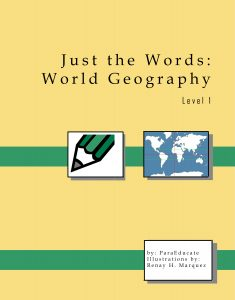 "Final cover of ""Just the Words: World Geography"""