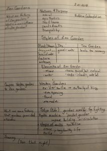 Cornell Note format of Zen Gardens, questions on left in a small column two inches, notes on left with headings underlined, details in a table or bullet points. Questions line up with headings.